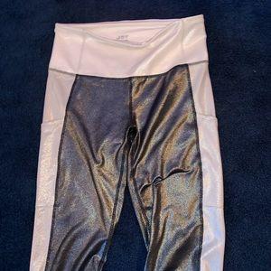 Sparkly/metallic silver/white JoyLab leggings